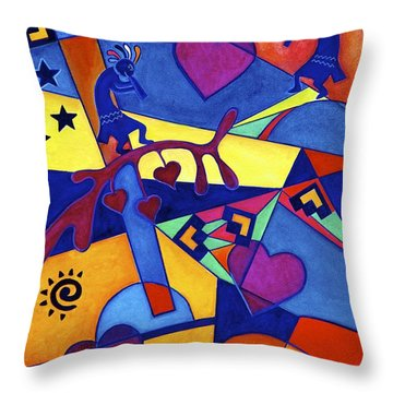 Throw Pillow featuring the painting Harvesting The Love Kokopelli Art  by Lori Miller