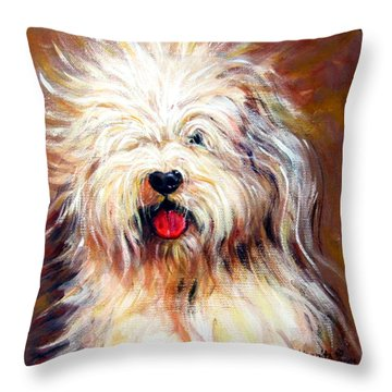 Harvey The Sheepdog Throw Pillow by Rebecca Korpita