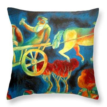 Hasidishe Journey To Rebbe  Throw Pillow by  Leon Zernitsky