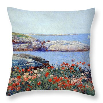 Hassam's Poppies On The Isles Of Shoals Throw Pillow