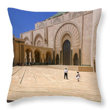 Throw Pillow featuring the photograph Hassan II Mosque Grand Mosque Sour Jdid Casablanca Morocco by Ralph A  Ledergerber-Photography