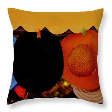 Throw Pillow featuring the photograph Hats Of Many Colors by Caroline Stella