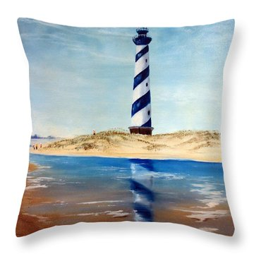 Hatteras Lighthouse Throw Pillow by Lee Piper