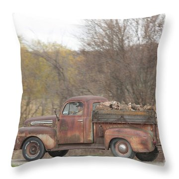 Hauling Wood Throw Pillow