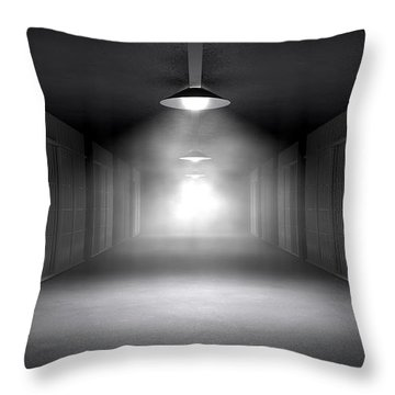 Haunted Jail Corridor And Cells Throw Pillow by Allan Swart