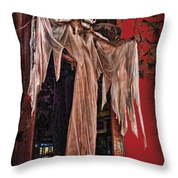 Hauntings Throw Pillow by Joan  Minchak