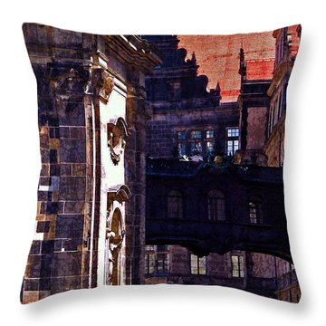 Throw Pillow featuring the photograph Hausmann Tower In Dresden Germany by Jordan Blackstone