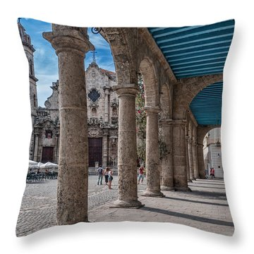 Havana Cathedral And Porches. Cuba Throw Pillow