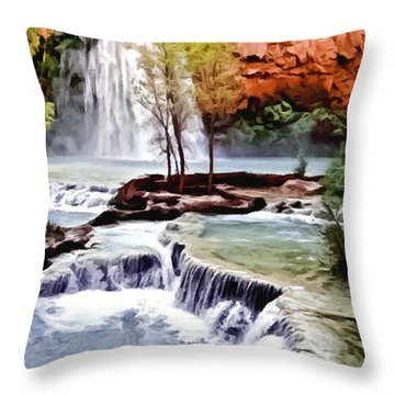 Havasau Falls Painting Throw Pillow