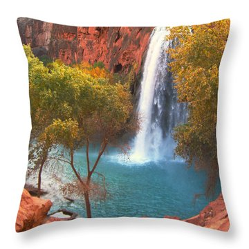 Throw Pillow featuring the photograph Havasu Falls by Alan Socolik
