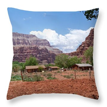 Throw Pillow featuring the photograph Havasupai Village Panorama by Alan Socolik