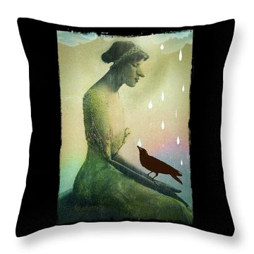 Throw Pillow featuring the digital art have I seen you here before? by Delight Worthyn