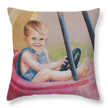 Throw Pillow featuring the drawing Having Fun by Joy Nichols