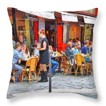 Having Lunch In A Parisian Cafe Throw Pillow