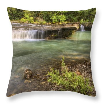 Haw Creek Falls Basin - Ozarks - Arkansas Throw Pillow by Jason Politte