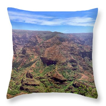 Hawaii Kauai Waimea Canyon Beautiful Panorama Throw Pillow by David Zanzinger
