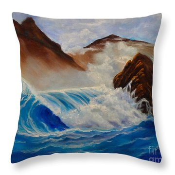 Throw Pillow featuring the painting Hawaii On The Rocks by Jenny Lee