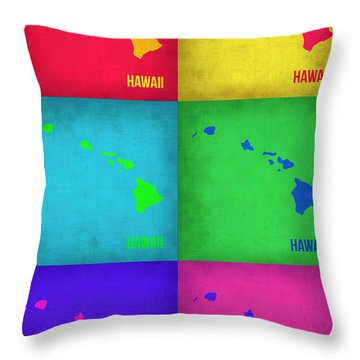 Hawaii Pop Art Map 1 Throw Pillow