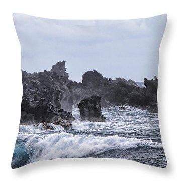Hawaii Waves V1 Throw Pillow by Douglas Barnard