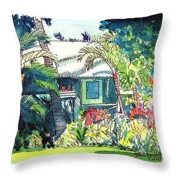 Throw Pillow featuring the painting Hawaiian Cottage 3 by Marionette Taboniar