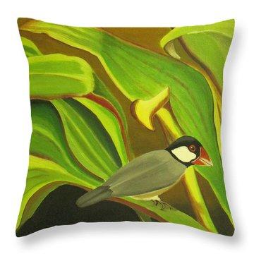 Hawaiian Finch On Tea Leaves Throw Pillow by Elaine Haakenson