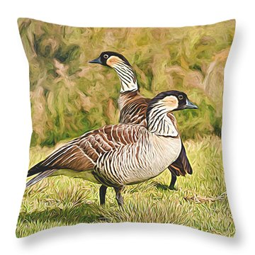 Hawaiian Goose Couple Throw Pillow