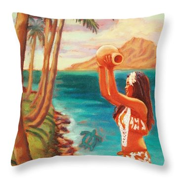 Hawaiian Hula Wahine Throw Pillow