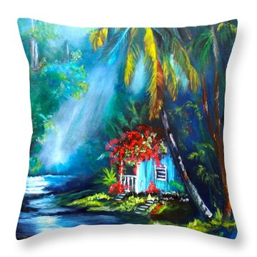 Throw Pillow featuring the painting Hawaiian Hut In The Mist by Jenny Lee