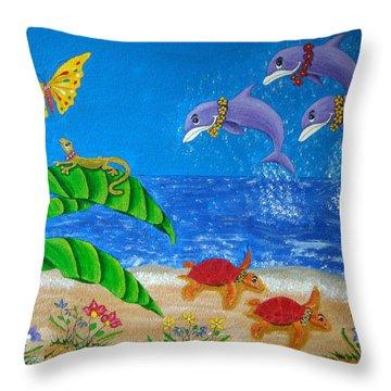 Hawaiian Lei Day Throw Pillow by Pamela Allegretto