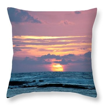 Hawaiian Ocean Sunrise Throw Pillow
