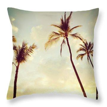 Hawaiian Palms - Hipster Photo Square Throw Pillow