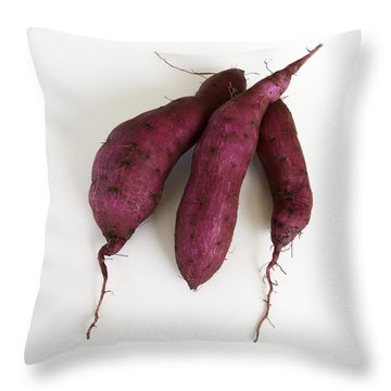 Hawaiian Purple Sweet Potatos Throw Pillow by Denise Bird