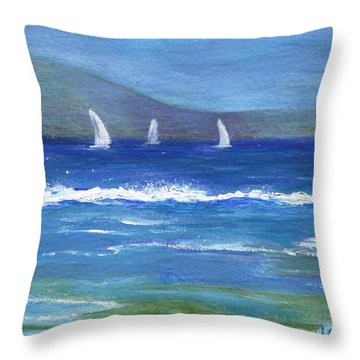 Throw Pillow featuring the painting Hawaiian Sail by Jamie Frier