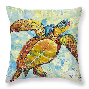 Throw Pillow featuring the painting Hawaiian Sea Turtle 2 by Darice Machel McGuire