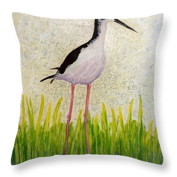 Throw Pillow featuring the painting Hawaiian Stilt by Anna Skaradzinska