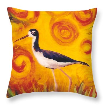 Throw Pillow featuring the painting Hawaiian Stilt Sunset by Anna Skaradzinska