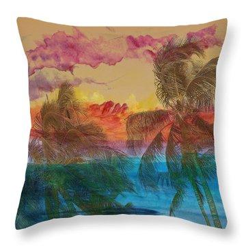 Hawaiian Sunset Throw Pillow by Athala Carole Bruckner