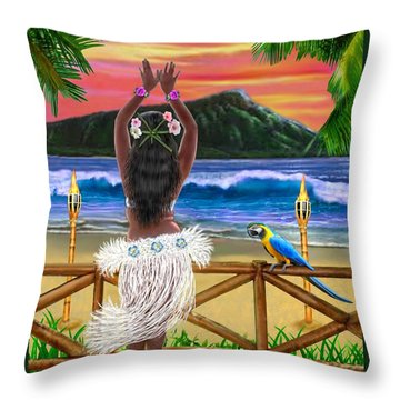 Hawaiian Sunset Hula Throw Pillow by Glenn Holbrook