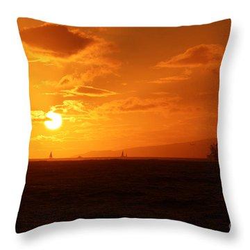 Hawaiian Sunset Throw Pillow by Mary Mikawoz