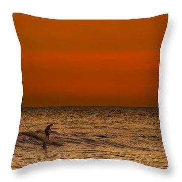 Hawaiian Sunset Surfing Throw Pillow