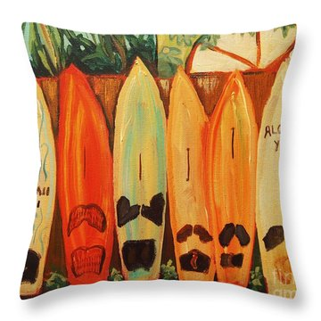 Hawaiian Surfboards Throw Pillow
