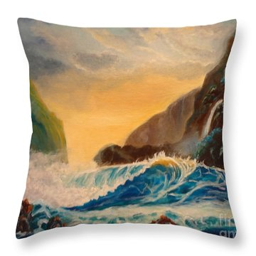 Throw Pillow featuring the painting Hawaiian Turquoise Sunset   Copyright by Jenny Lee