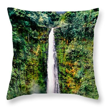 Hawaiian Waterfall Throw Pillow