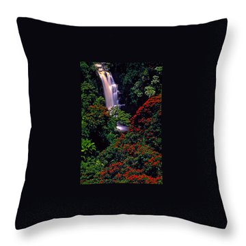 Hawaiian Waterfall With Tulip Trees Throw Pillow