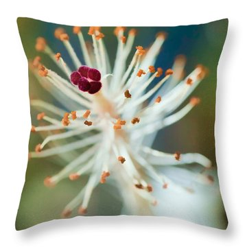 Hawaiian White Hibiscus Throw Pillow