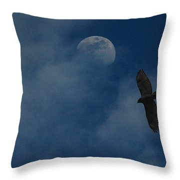 Hawk And Moon Coming Out Of The Mist Throw Pillow by Raymond Salani III