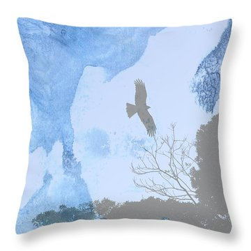Hawk In Flight 1 Throw Pillow