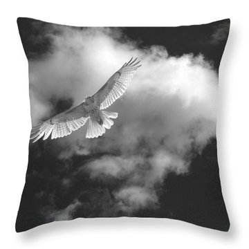 Hawk In Flight - Bw Throw Pillow