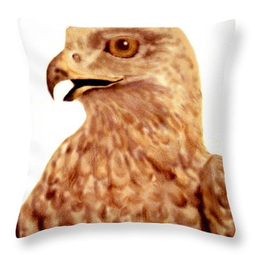 Throw Pillow featuring the digital art Hawk by Terry Frederick