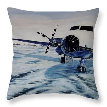 Throw Pillow featuring the painting Hawker - Airplane On Ice by Marilyn  McNish